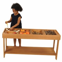 "3 years & up. Create an inspiring outdoor living classroom with this beautiful wooden sorting table. It is perfect for messy play and sensory exploration activities. It will help to create an excellent and inspiring play space--this product will be a great addition to any outdoor environment! Use with #32333 Outdoor Sorting Trays. The sorting table and lid are made from solid eucalyptus. Table measures 47 1/4""W x 23 1/2""H x 15 3/4""D. Sorting trays are sold separately and contents shown are not included."