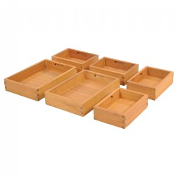 "3 years & up. This set of six sorting boxes have inbuilt handles and consist of two large and four small that all fit neatly into our sorting table (item #32332). Perfect for sensory exploration and taking the classroom outside. Boxes are made from solid eucalyptus. Small boxes measure 7""W x 3 1/4""H x 9 1/2""D and larger boxes measure 9 1/2""W x 3 1/4""H x 14 1/4""D. Contents shown are not included."