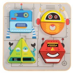 18 months & up. Four geometric robots made of chunky wooden pieces to sort and stack. Remove the pieces from the board to mix and match and create your own robot design.