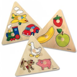 Large Knob Triangle Puzzle Set (Set of 3)