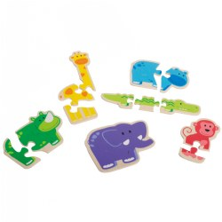 Happy Animal 3-Piece Wooden Puzzles (6 Puzzles)