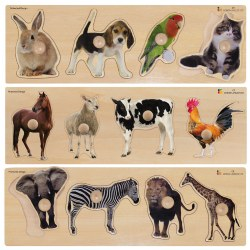 Large Knob Animal Puzzles - Set of 3