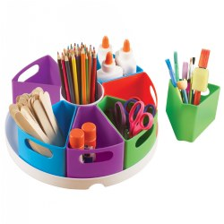 "Present materials in the classroom with this storage organizer. It includes a 12"" circular tray with 8 removable containers. Great for makerspaces!"