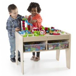 "4 years & up. Develop social emotional and STEM skills in a collaborative, play-based environment with the IO Blocks® Center. This all-in-one table brings movement, simple machines and dramatic play to the original IO Blocks® friction-fit, construction toy platform. Combine gears, slides, IO people and standard IO Blocks® pieces to create limitless builds using problem solving, introductory architecture and budding STEM skills. Constructions are stabilized on the raised grid tabletop while the sturdy birch plywood table features handy storage below to hold IO Blocks® and additional parts. Includes: 1 birch plywood play table, 4 storage bins and 458 building pieces. Easy assembly - simply affix the enclosed table legs to the IO Blocks® tabletop. Measures 31""L x 22""W x 23""H."