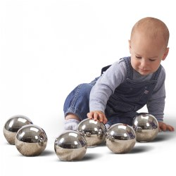 "Birth & up. This set of six reflective mirror balls all look identical, but have individual characteristics. Some wobble when rolled, or turn and won't roll in a straight line, some feel funny when twisted, spun or shaken and others make different shaker or rattle sounds. The shiny mirror surface provides a distorted fish-eye lens reflection which is fascinating for children to observe. They are robustly constructed from hard wearing stainless steel, are lightweight, smooth and tactile to handle and can be of particular appeal to children with special needs, or for those requiring inspiration in creative language. Each ball approximately 4"" in diameter."