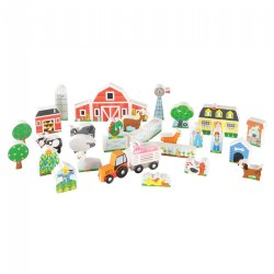 Wooden Farm & Tractor Play - 33 Pieces