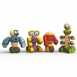 3 years & up. Everyone loves to stack and connect the chunky components to create colorful robots of all shapes and sizes. Made from eco-friendly rubber wood with child-safe stains, the playset develops creative thinking and problem solving skills.