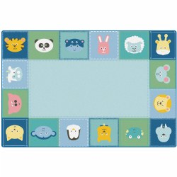 Baby Animals Border Soft Colors Rug - 6' x 9'