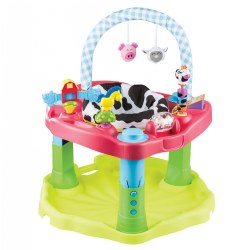 4 - 12 months. This barn animal themed activity center offers rock, spin, and bounce actions to strengthen leg, back, and neck muscles. Features a 3-position height adjustment and a machine-washable seat pad as well as removable toys that are easy to clean. Wide surrounding tray is landscaped to bring toys closer to baby, with 360 seat encouraging continual cause and effect learning. Meets or exceeds ASTM Standards for Activity Centers.