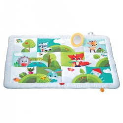 The mat is super-sized and features a variety of engaging activities to encourage baby's development with each area providing different types of stimuli to encourage motor skills: from a crinkly fox tail to an engaging peek-a-boo tree and more. This variety of textures, images, and toys provides baby with a space to be entertained as they learn important developmental skills. This extra large mat has room for two babies to play. Has removable mirror that is perfect for helping you to extend tummy time. Designed for both indoor and outdoor use. Extra-large size provides plenty of space.