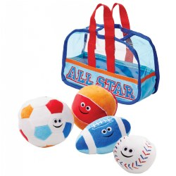 6 months & up. This toddler sized sports bag comes packed with a plush soccer ball, baseball, football, and basketball. Each of the four balls rattle, jingle, or crinkle.