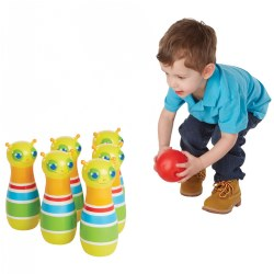 "2 years & up. Encourage hand-eye coordination and dexterity, while promoting early counting skills with these six 8"" tall, multi-colored Giddy Buggy Pins. Can be used both indoors and outdoors. Set them up, roll the included ball, and knock them down."
