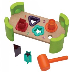 "12 months & up. Foster early shape and color recognition and fine motor skills with this wooden pounding bench that features soft rubber edges and includes one plastic mini mallet and 4 plastic pounding shapes. Item is 4""W x 9""L."