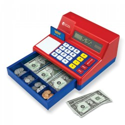 "3 - 8 years. Kids learn basic arithmetic skills during dramatic play. Solar-powered calculator register holds life-size bills. Features oversized buttons and large number display. Includes play money, plastic coins, play credit card, and activities. Measures 5 3/4""H x 10 1/2""W x 9 1/2""D."