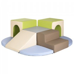 Soft Toddler Arches and Slide Climber in Natural Colors