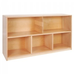 Premium Solid Maple Preschool 5-Compartment Storage Unit - Solid Back