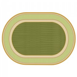 Sense of Place Lowland Stripe Green Oval Carpet - 6' X 9'