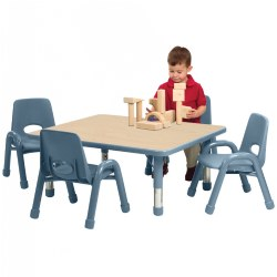 "30"" x 48"" Table with Set of Six 9.5"" Chunky Stack Chairs - Light Blue"