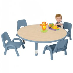 "48"" Round Table with Set of Four 13.5"" Chunky Stack Chairs - Light Blue"