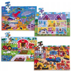 Wooden Floor Puzzle - Set of 4