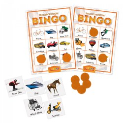 Transportation Bingo Cards Matching Learning Game For Kids