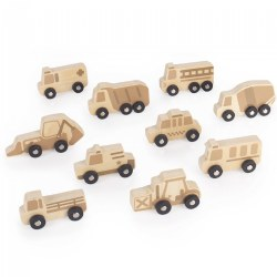 Mini Wooden Vehicles - Set of 10