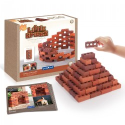 Little Bricks Builders Set for Construction and Stacking with Concept Cards - 60 Piece Set
