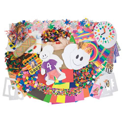 4 years & up. Little artists can't resist this colorful collection of collage materials: buttons, sticky shapes, beads, assorted paper, macaroni, burlap, sponges, felt, craft sticks, mini-frames, yarn, wood shapes, and more. Also includes a teaching guide.