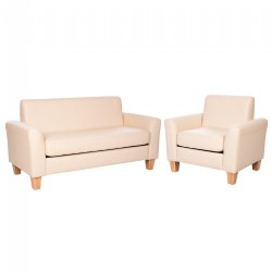 Sense of Place Tan Vinyl Couch and Chair