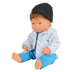 "Down Syndrome Caucasian Boy Doll 15"" With Outfit"