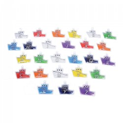 Rainbow Gel Alpha Boats - 26 pieces - Tactile Boats with Uppercase and Lowercase Letters