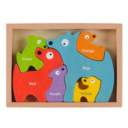 Dog Family Bilingual Puzzle - Eco-Friendly Wood