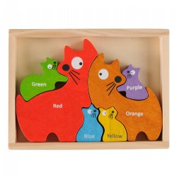 Cat Family Bilingual Puzzle - Eco-Friendly Wood