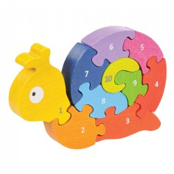 Number Snail Bilingual Learning Puzzle - Eco-Friendly Wood