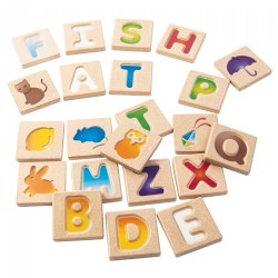 Wooden Alphabet Tracing Tiles