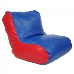 Vinyl Bean Bag Lounger Chair - Red and Blue