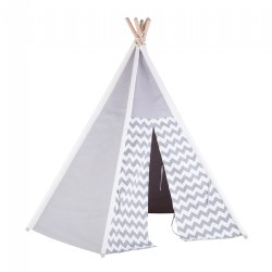 Easy View Foldable Gray and White Canvas Teepee Tent
