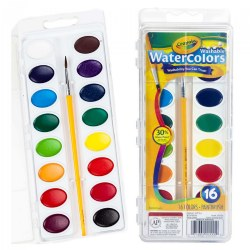 16 Ct Washable Watercolors with Brush