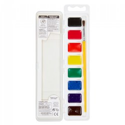 8 Ct Washable Watercolors with Brush
