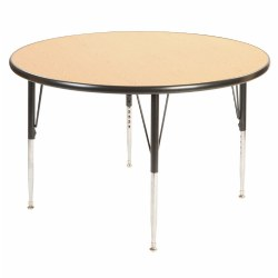 "42"" Round Golden Oak Adjustable Table - Seats 4"