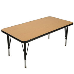 "24"" x 48"" Golden Oak Adjustable Rectangular Table - Seats 6 - Standard Height"