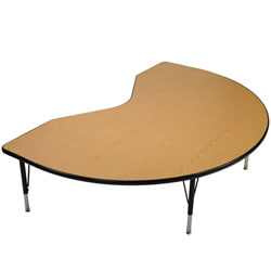 "48"" x 72"" Golden Oak Adjustable Kidney Table - Seats 4"