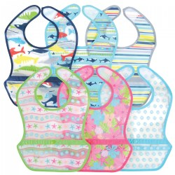 Snap & Wipe Pocket Bib Set - 6 Pack