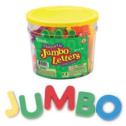 "3 years & up. These magnetic uppercase letters are ideal for magnet play and early language practice. Great for use in conjuction with a magnetic chalkboard. Set of 40 letters are 2 1/2"" high and are packaged in a storage bucket."