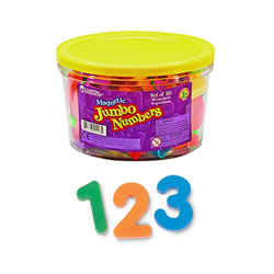 "3 years & up. These magnetic numbers are ideal for magnet play and early math practice. Great for use in conjuction with a magnetic chalkboard. Set of 30 numbers and 6 operations are 2 1/2"" high and are packaged in a storage bucket."