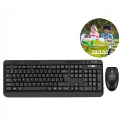 Antimicrobial Wireless Keyboard and Mouse Combo Includes Free Kaplan Early Learning Mouse Pad
