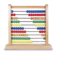 "3 years & up. 10 beads slide on 10 steel rods in a wooden frame, encouraging fine motor play while illustrating mathematical concepts. Beads are white, yellow, red, blue, and green. Abacus measures 12""H x 12""W x 3""D."
