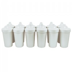 No Spill Sippy Cups - White - Set of 12
