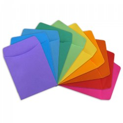 Self-Adhesive Assorted Color Library Pockets - Set of 30