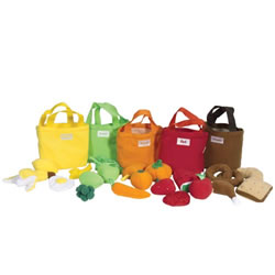 12 months & up. These soft 5 color food bags are great for toddlers to learn colors and sorting and matching skills. Each closeable bag is filled with 4 various fruits, vegetables and assorted foods. Surface washable.